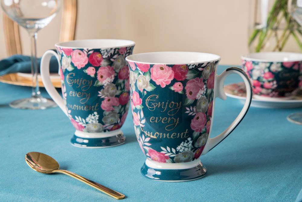 Kubki do kawy i herbaty na stopce porcelanowe Altom Design Enjoy 250 ml (2 kubki / opakowanie prezentowe)