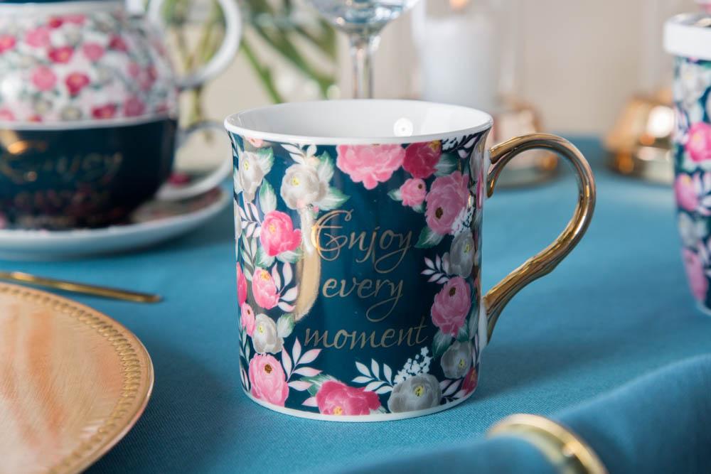 Kubek do kawy i herbaty porcelanowy Altom Design Enjoy 250 ml ze złotym uchem