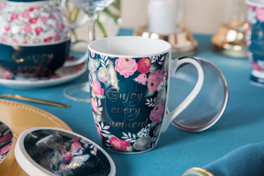 Kubek z zaparzaczem do herbaty i ziół porcelanowy / sitko stalowe Altom Design Enjoy 300 ml (opakowanie prezentowe)