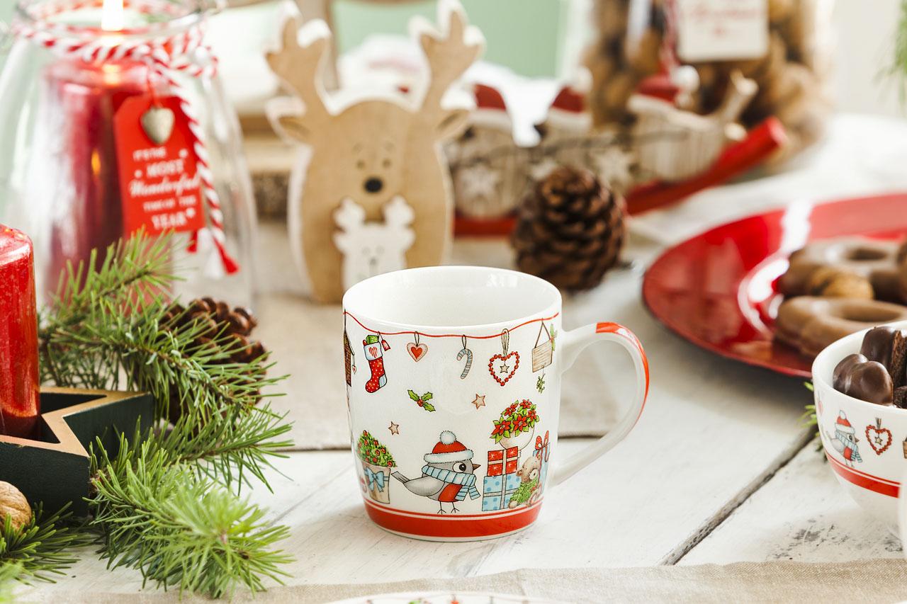 Kubek porcelanowy świąteczny Boże Narodzenie Altom Design Holly czerwony 300 ml