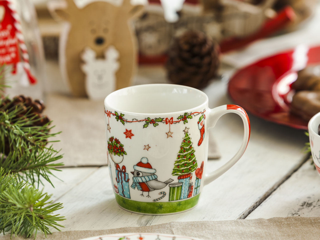 Kubek porcelanowy świąteczny Boże Narodzenie Altom Design Holly zielony 300 ml
