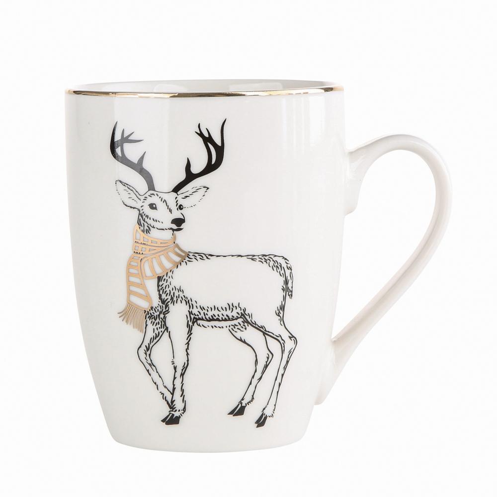 Kubek porcelanowy święta Boże Narodzenie Altom Design Nordic Forest Renifer 300 ml