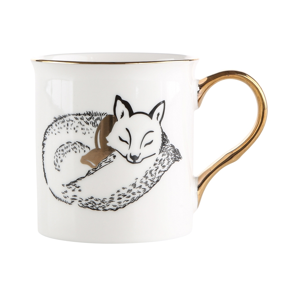 Kubek porcelanowy święta Boże Narodzenie Altom Design Nordic Forest Złote Ucho Lis 300 ml