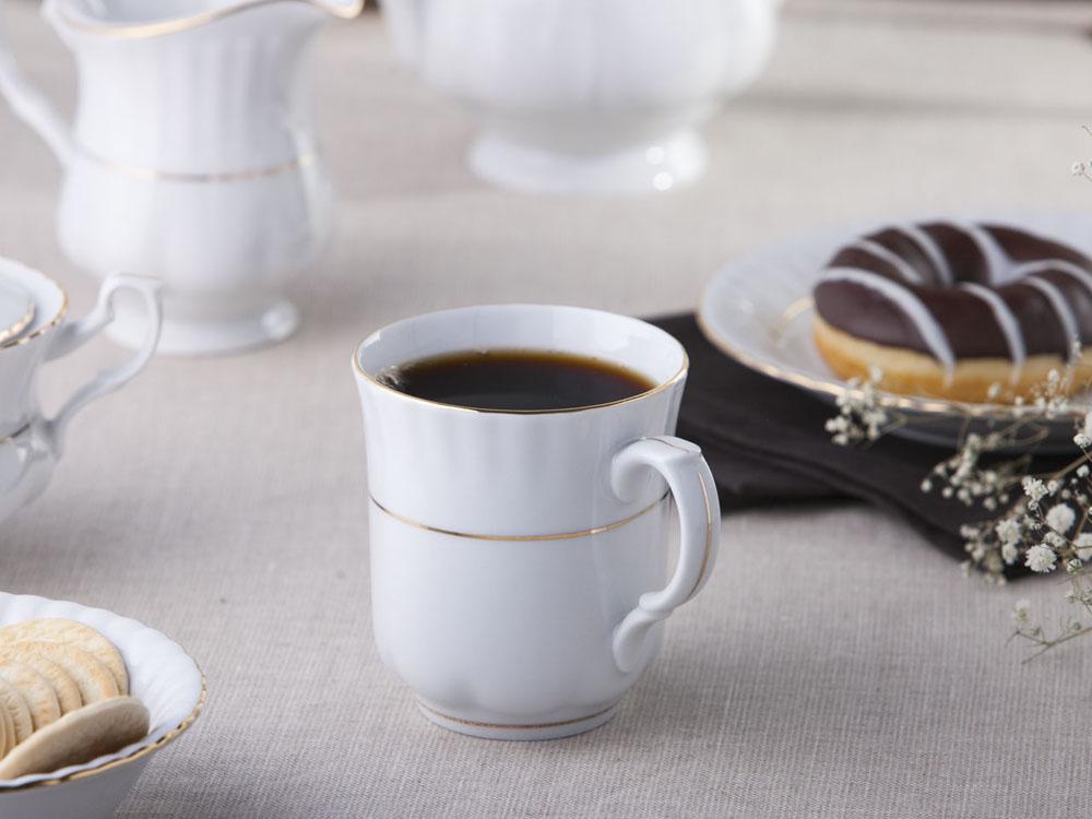 Kubek do kawy / herbaty porcelana Chodzież Iwona Złoty Pasek 300 ml