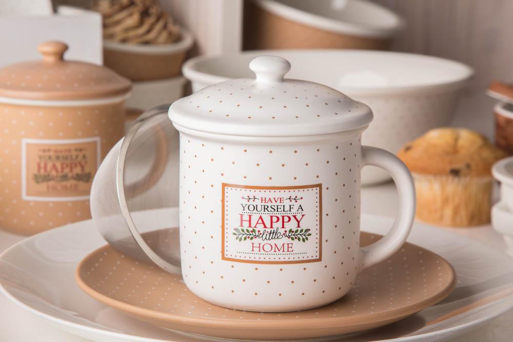 Kubek z zaparzaczem i pokrywką do herbaty i ziół porcelanowy / sitko stalowe Altom Design Happy Home 300 ml kremowy w kropki