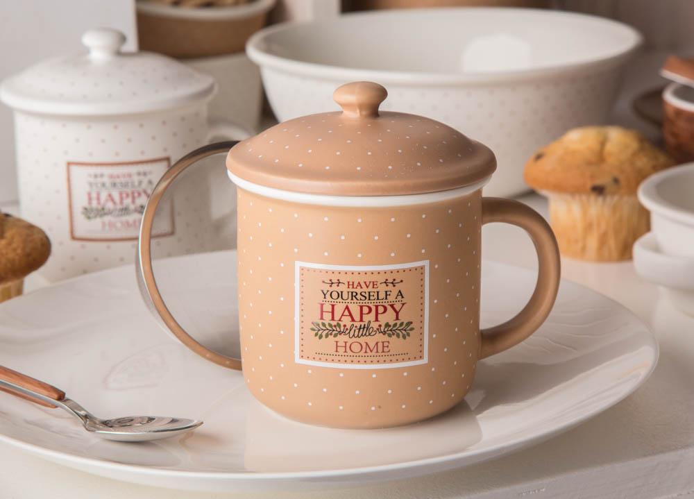 Kubek z zaparzaczem i pokrywką do herbaty i ziół porcelanowy / sitko stalowe Altom Design Happy Home 300 ml beżowy w kropki