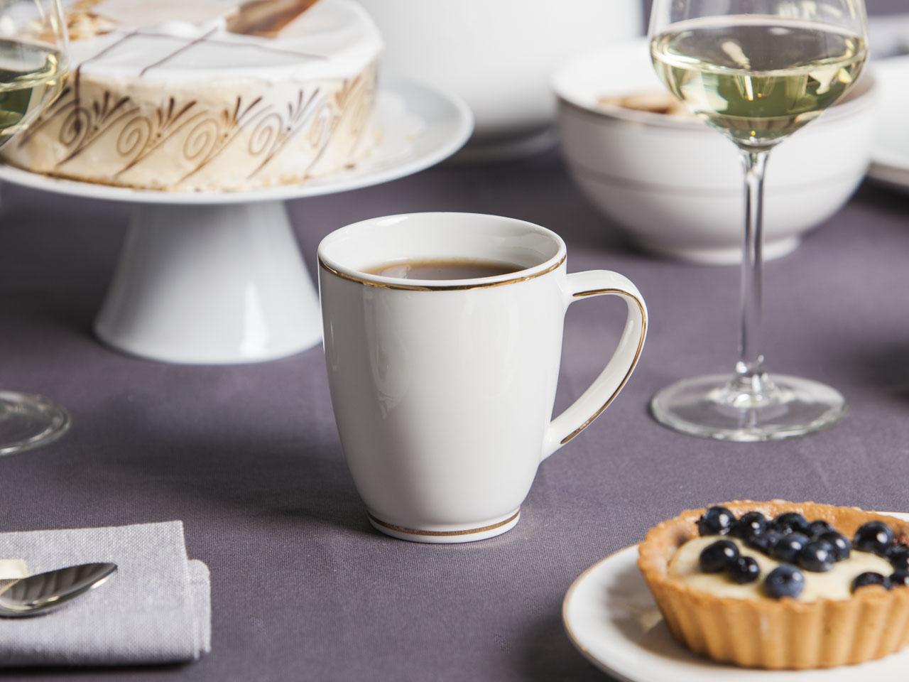 Kubek do kawy / herbaty porcelana MariaPaula Nova Ecru Złota Linia 350 ml