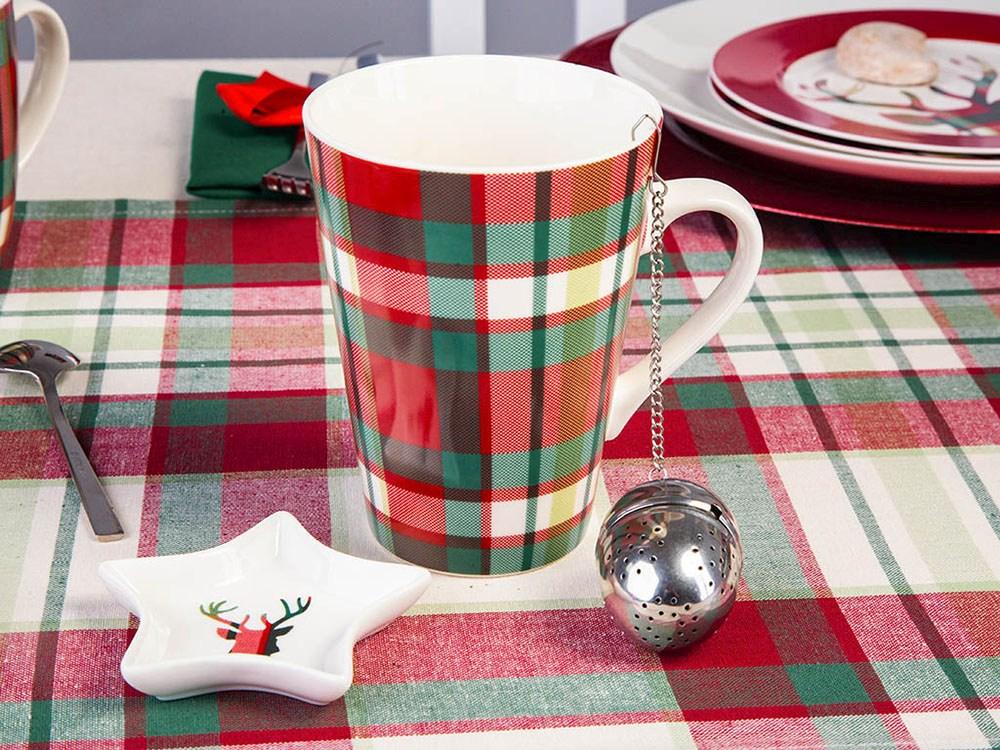 Kubek porcelanowy świąteczny z zaparzaczem i podstawką święta Boże Narodzenie Altom Design Victoria Red 450 ml