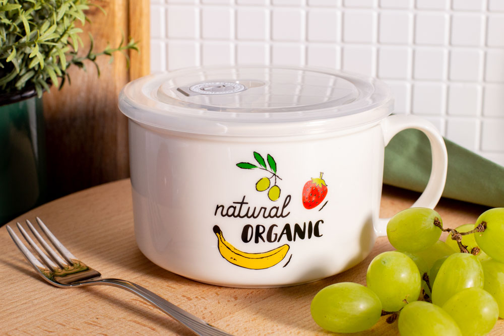 LUNCH BOX Z UCHEM NBC 680 ML Z POKRYWKĄ HERMETYCZNĄ NATURAL ORGANIC