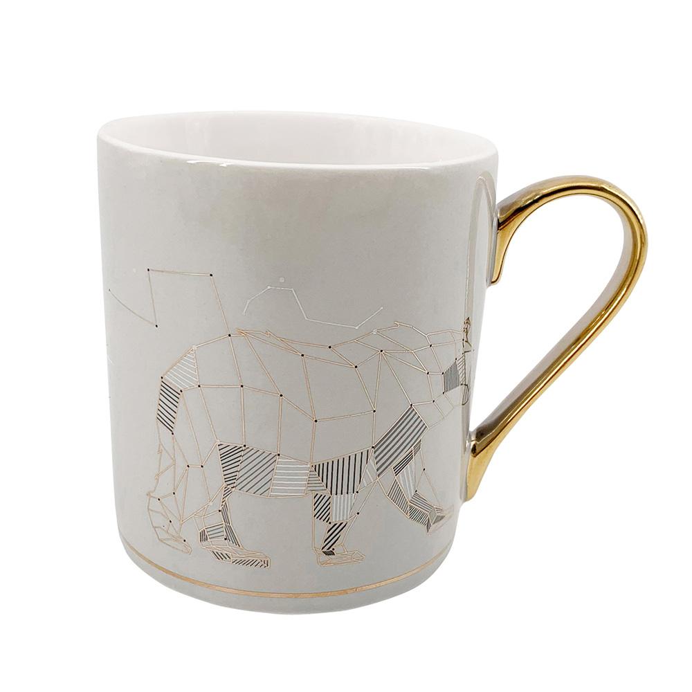 Wild Nature straight mug NBC 300 ml with gold handle dec. Bear