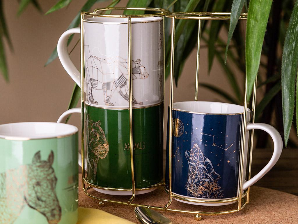 Wild Nature straight mugs NBC 250 ml 4 pcs. gold stand, dec. Animals