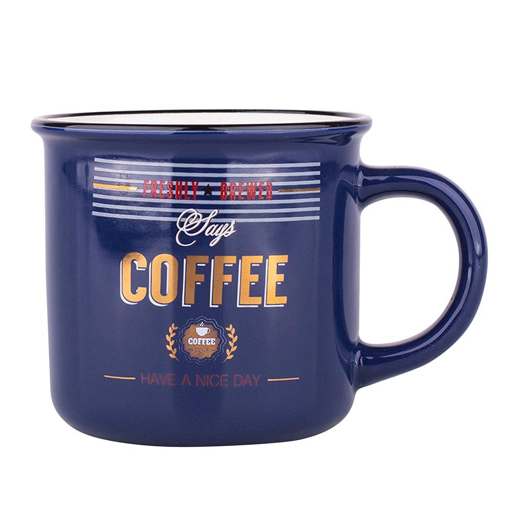KUBEK PROSTY Z WYWINIĘTYM RANTEM NBC 300 ML DEK. RETRO COFFEE GRANATOWY