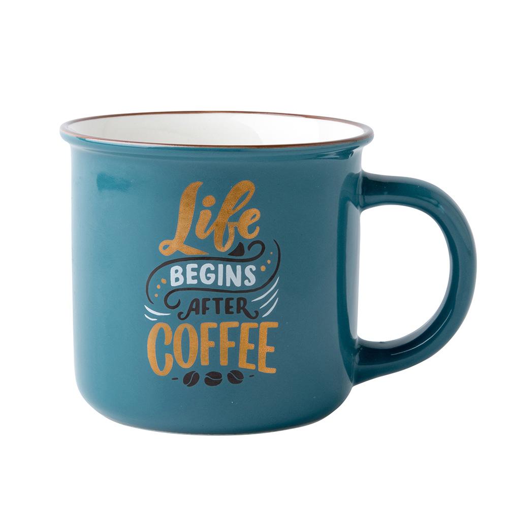 Straight mug with folded edge NBC 300  ml dec. Retro Coffee Sea blue