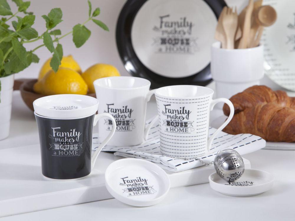 Kubek z zaparzaczem i pokrywką porcelana Altom Design kolekcja Family Home 300 ml (opakowanie prezentowe)
