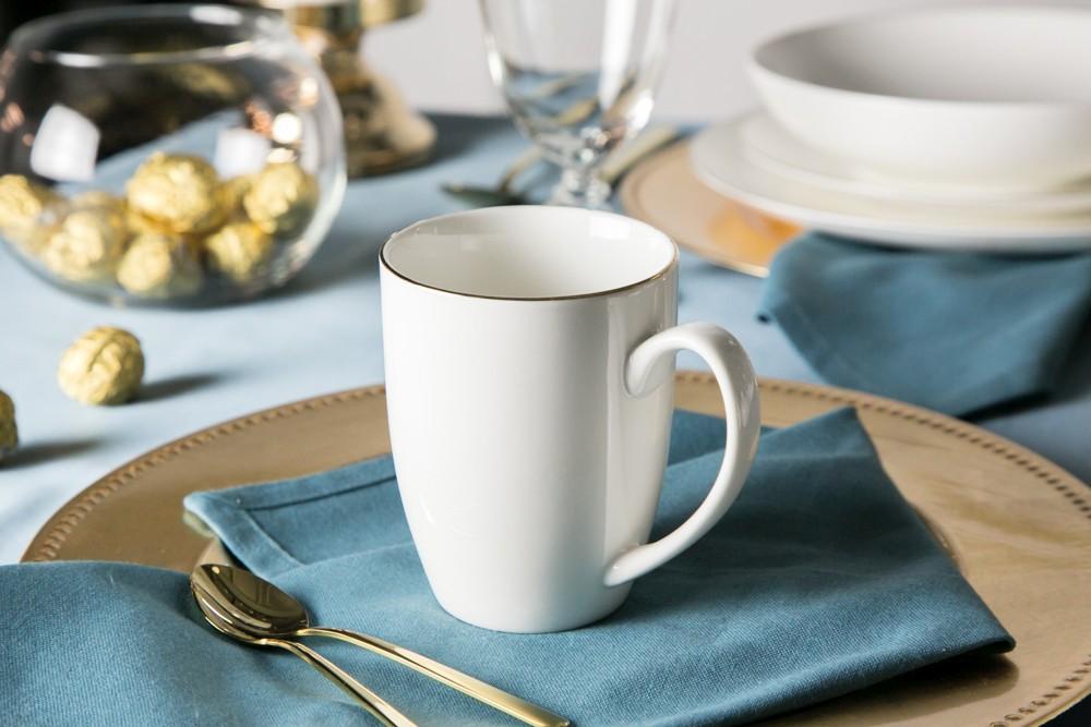 Kubek porcelana kremowa Altom Design Bella Złota Linia 320 ml