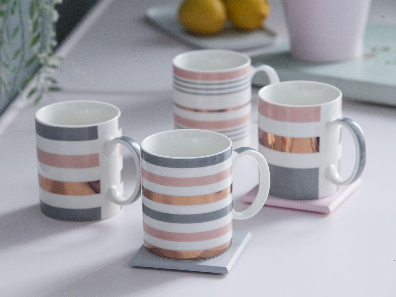 Kubek porcelanowy Altom Design Miedziane Pasy 350 ml
