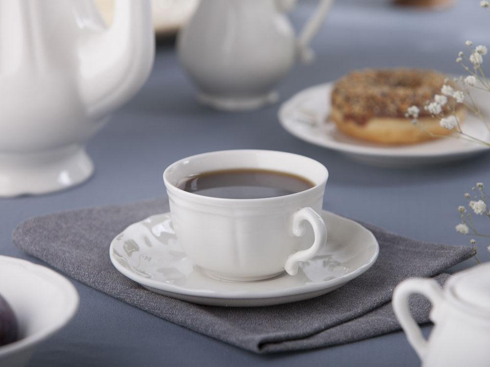 Filiżanka śniadaniowa ze spodkiem porcelana Karolina Castel 350 ml / 16 cm