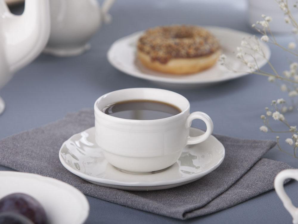 Filiżanka do kawy ze spodkiem porcelana Karolina Castel 220 ml / 15 cm