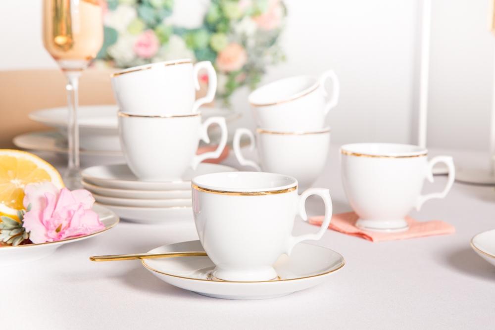 Filiżanki do espresso dla 6 osób porcelana MariaPaula Złota Linia 100 ml / 12 cm (12 elementów)