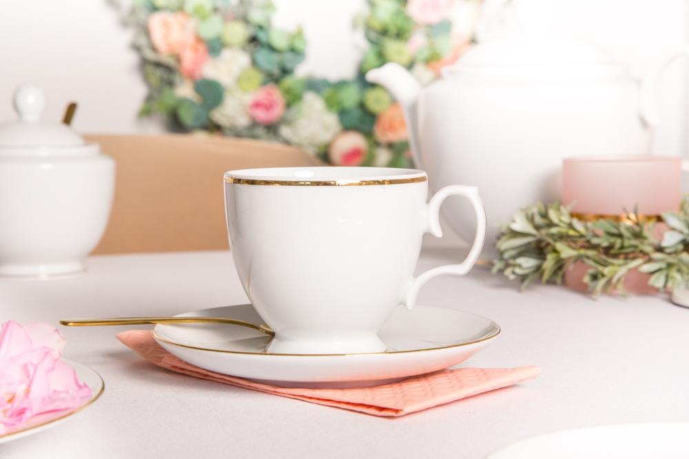 Filiżanka do kawy ze spodkiem porcelana MariaPaula Złota Linia 220 ml