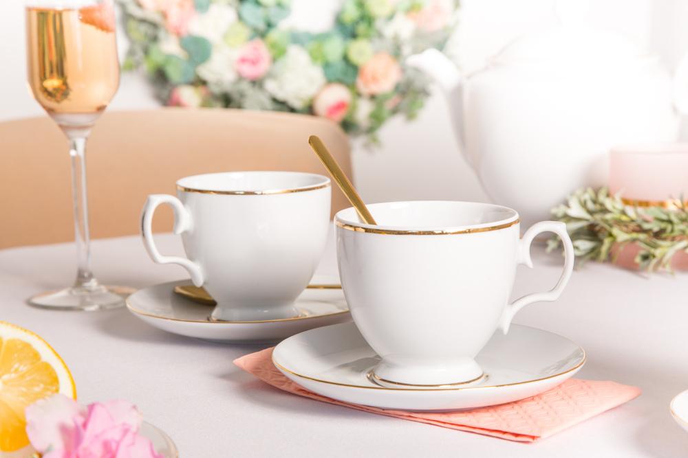 Zestaw filiżanek do kawy ze spodkiem porcelana MariaPaula Złota Linia, komplet 2 szt.