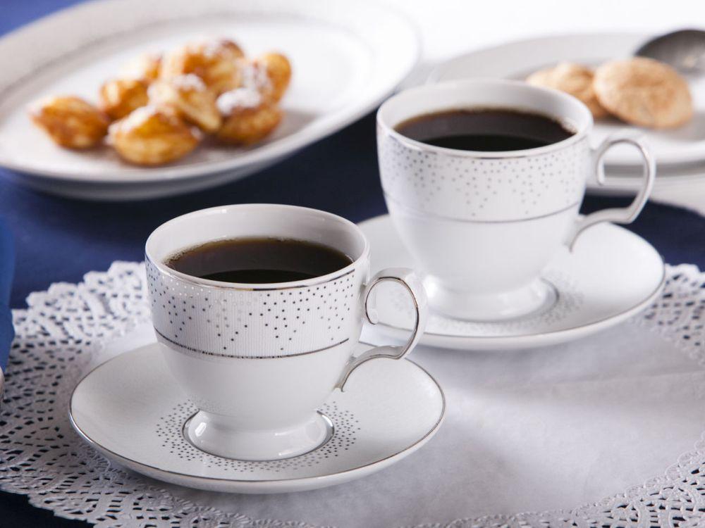 Zestaw filiżanek do kawy ze spodkiem MariaPaula Snow 2 filiżanki  opakowanie prezentowe