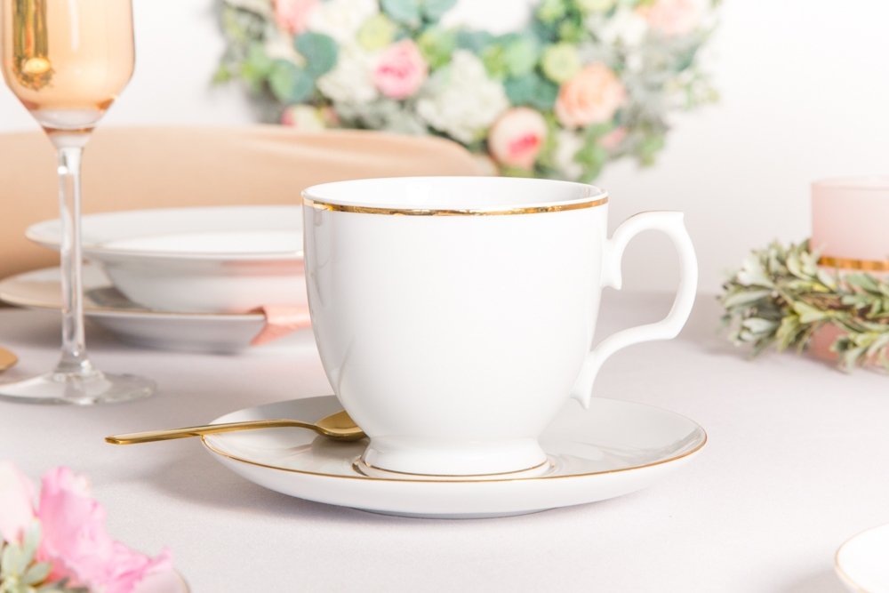 Filiżanka do cappuccino / spodek porcelana MariaPaula Złota Linia