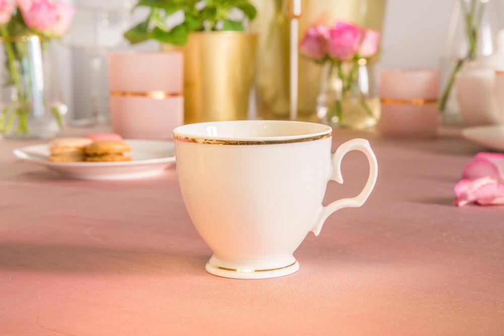 Filiżanka do kawy porcelana MariaPaula Ecru Złota Linia 220 ml