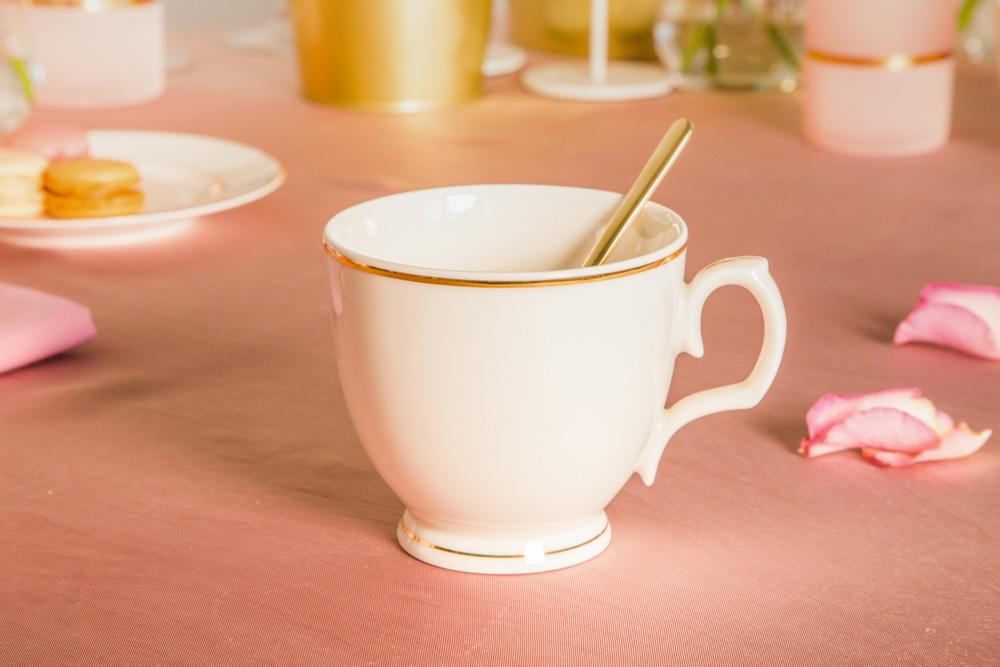 Filiżanka do cappuccino porcelana MariaPaula Ecru Złota Linia 350 ml