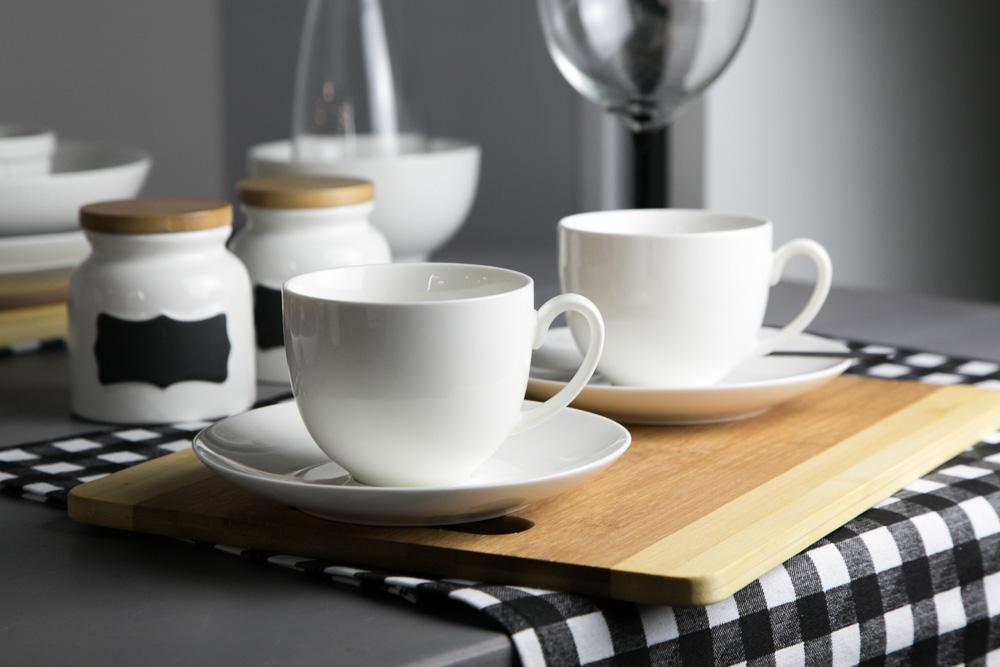 Filiżanka do kawy ze spodkiem porcelana kremowa Altom Design Bella 200 ml + 15 cm