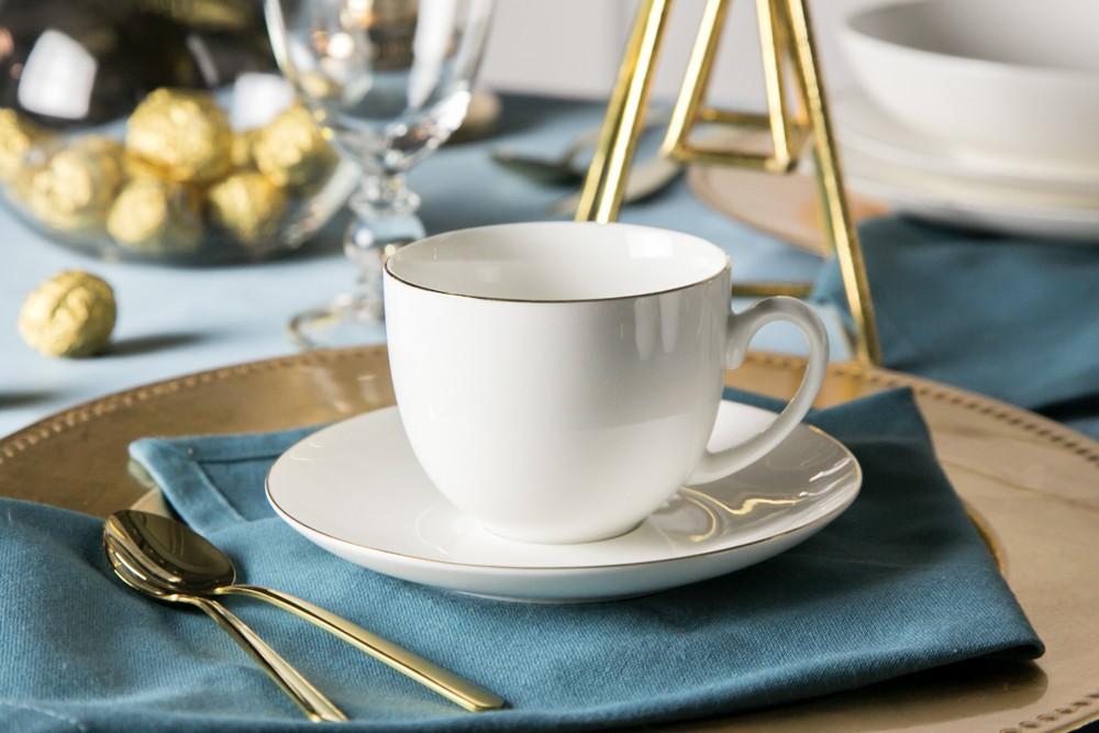 Filiżanka do kawy ze spodkiem porcelana kremowa Altom Design Bella Złota Linia 200 ml / 15 cm