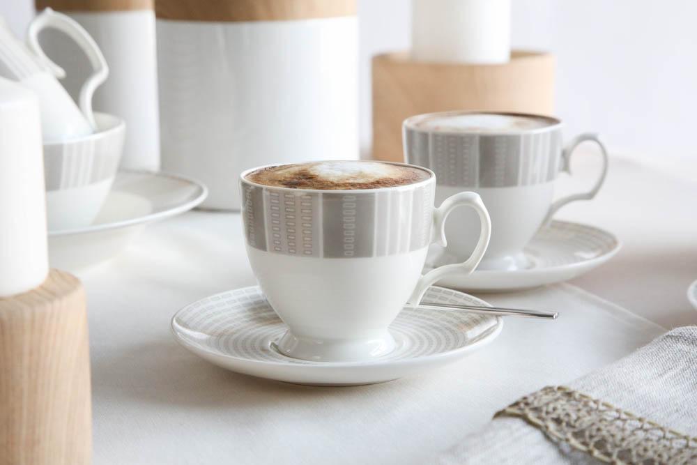 Filiżanka do kawy ze spodkiem porcelana MariaPaula Ecru Alison 220 ml