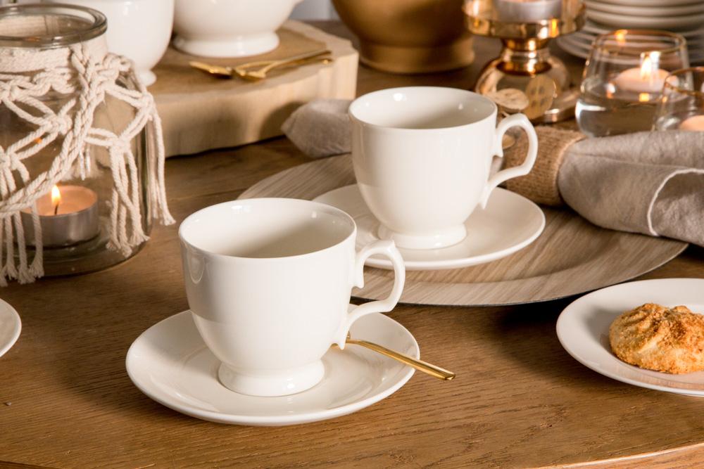 Zestaw filiżanek do kawy MariaPaula Ecru, 2 filiżanki, 220 ml (opakowanie prezentowe)