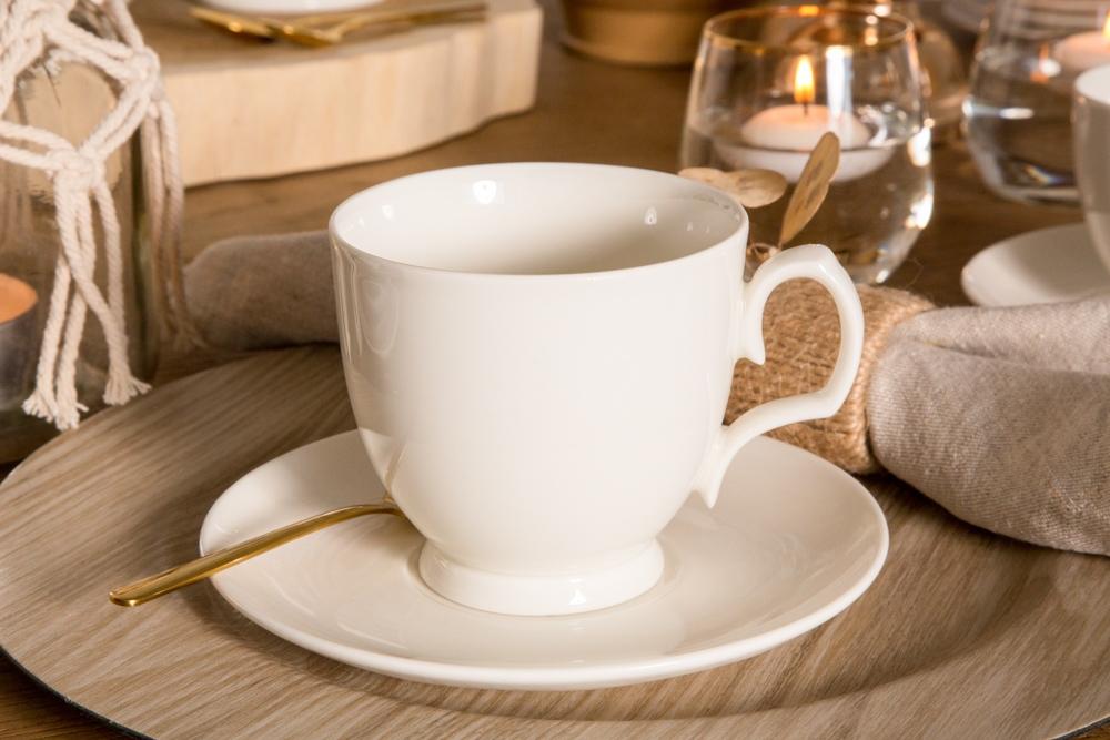 Filiżanka do cappuccino ze spodkiem porcelanowa MariaPaula Ecru 350 ml