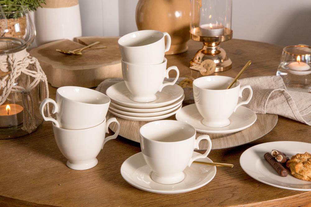 Serwis / zestaw kawowy na 6 osób porcelana MariaPaula Ecru 12 elementów