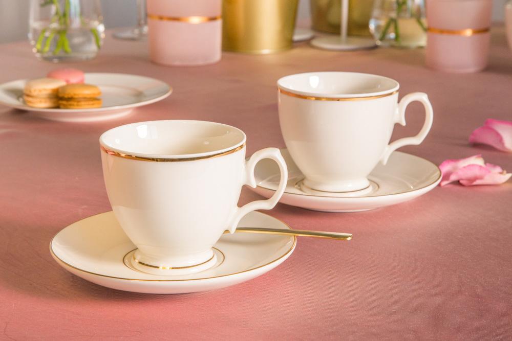 Zestaw filiżanek do kawy 220ml ze spodkiem MariaPaula Ecru Złota Linia, 2 filiżanki (opakowanie prezentowe)