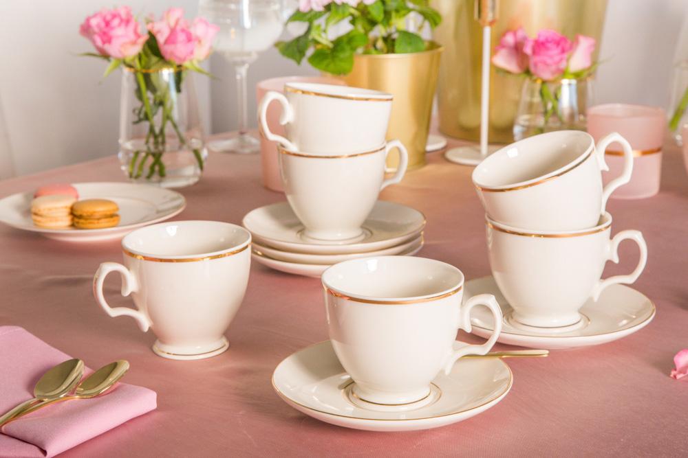 Serwis / Zestaw kawowy na 6 osób porcelana MariaPaula Ecru Złota Linia