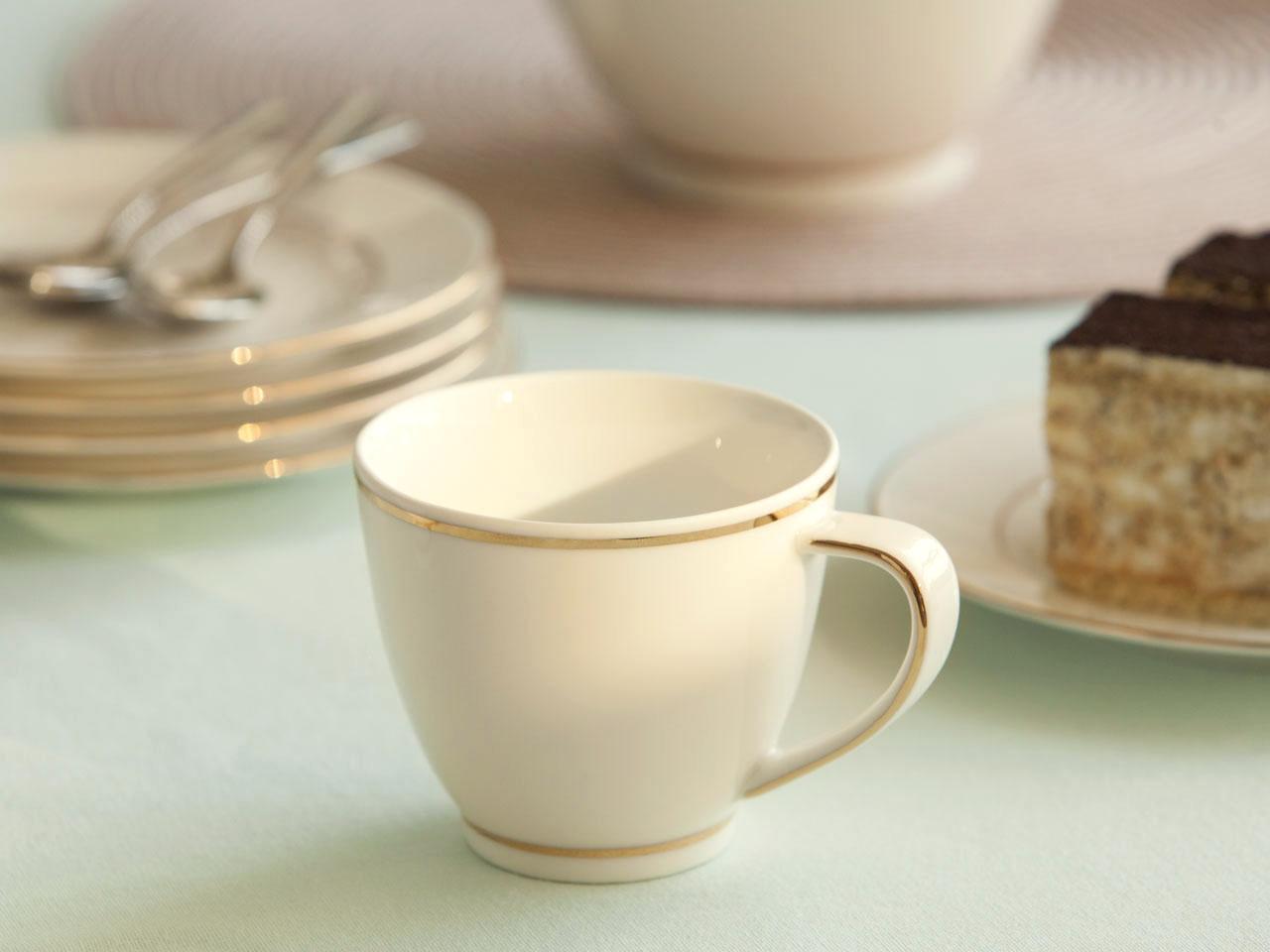 Filiżanka do kawy porcelanowa MariaPaula Ecru Nova Złota Linia 250 ml