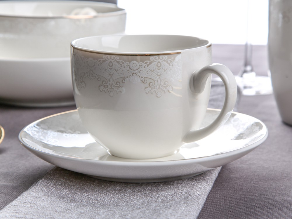 Filiżanka do kawy i herbaty ze spodkiem porcelanowa Altom Design Bella Lace 200 ml