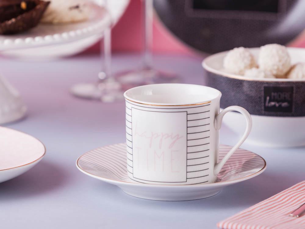 Filiżanka do kawy i herbaty ze spodkiem porcelanowa Altom Design More Love White 220 ml / 16 cm