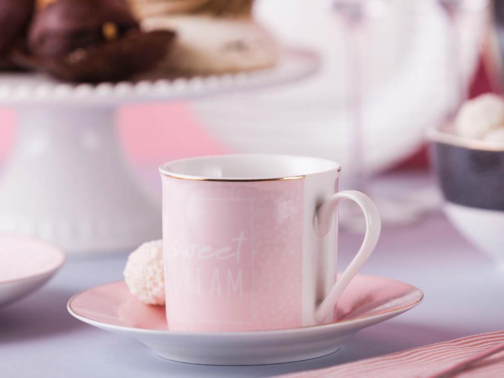 Filiżanka do kawy i herbaty ze spodkiem porcelanowa Altom Design More Love Pink 220 ml / 16 cm