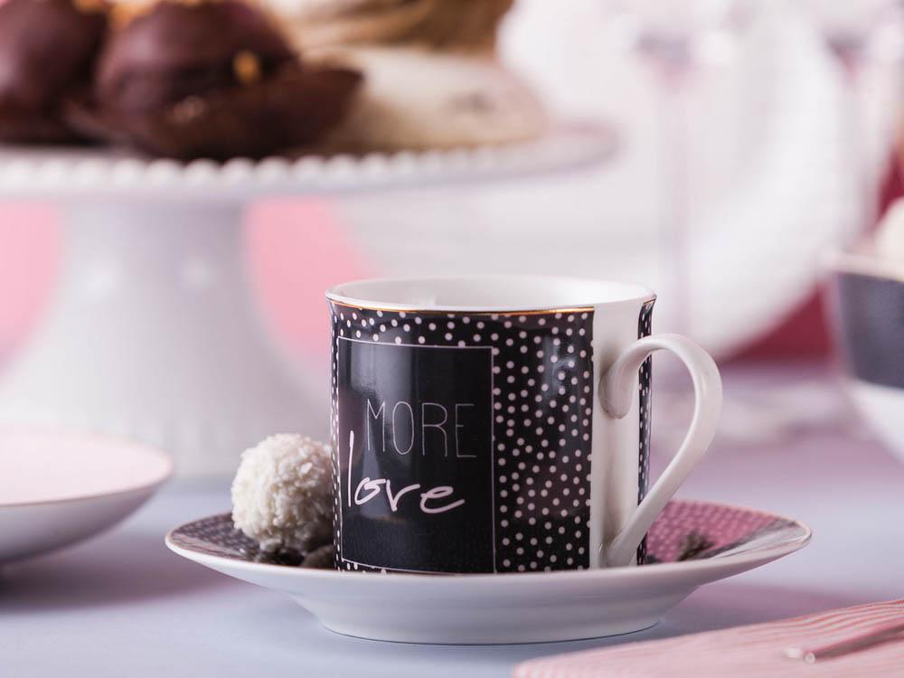 Filiżanka do kawy i herbaty ze spodkiem porcelanowa Altom Design More Love Black 220 ml / 16 cm