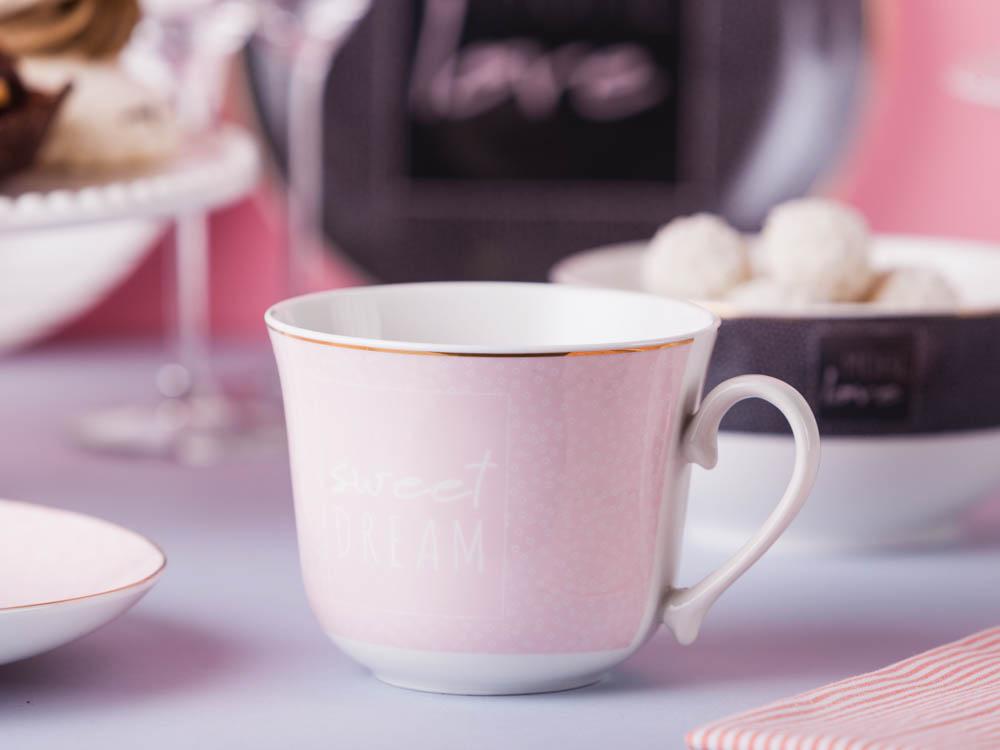 Duża filiżanka do kawy i herbaty porcelanowa Jumbo Altom Design More Love Pink 400 ml