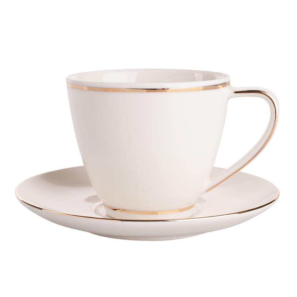 Filiżanka do kawy i herbaty ze spodkiem porcelana MariaPaula Nova Ecru Złota Linia 250 ml (w opasce)