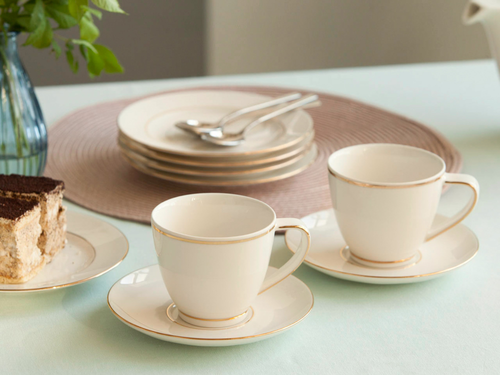 MariaPaula Nova Golden Line set of 2 cup 250ml with saucer 15cm GIFT BOX