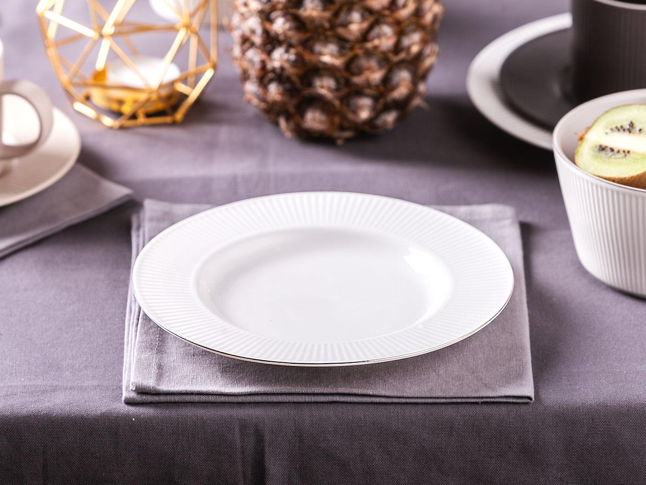 Talerz deserowy porcelanowy Altom Design Urban White Złota Linia 20 cm