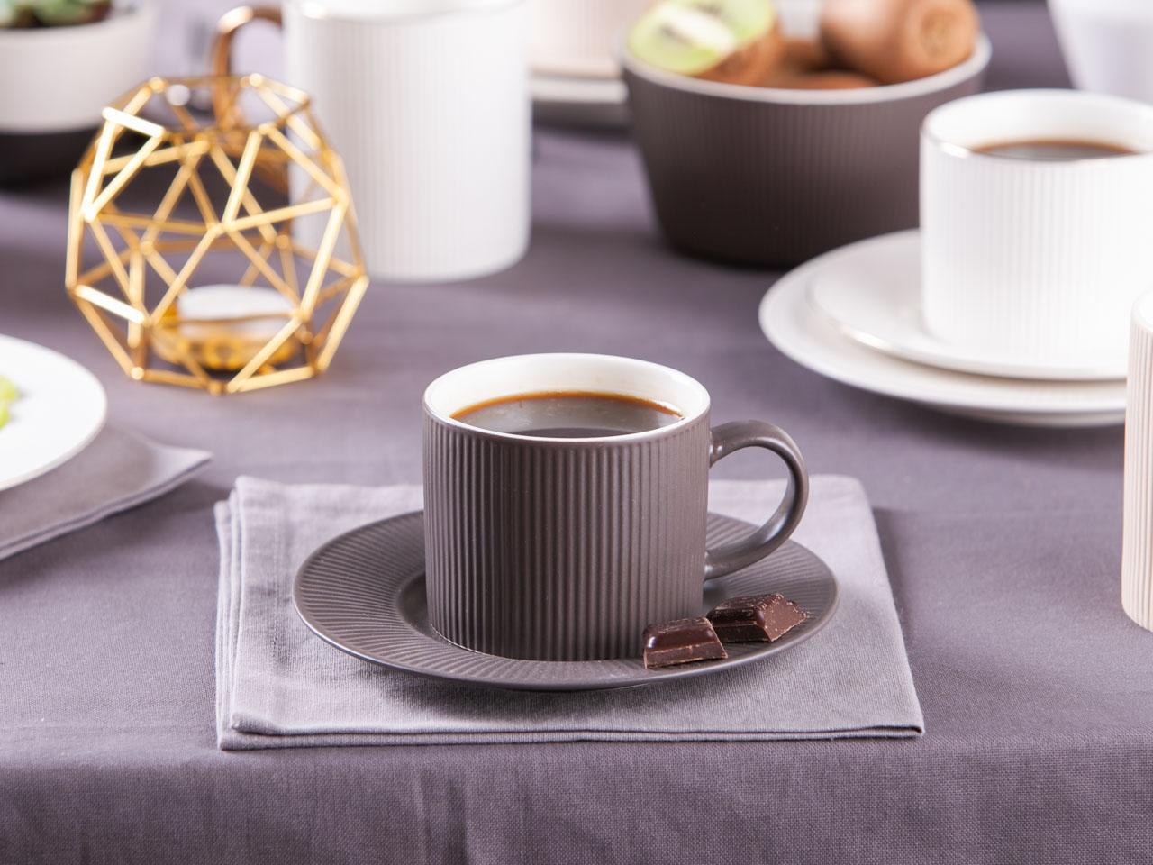 Filiżanka do kawy i herbaty porcelanowa Altom Design Urban Grafit 240 ml