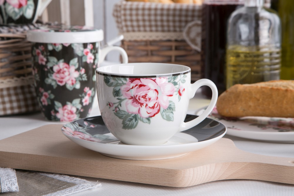 Filiżanka do kawy i herbaty ze spodkiem porcelanowa Altom Design Róża Paryska 200 ml