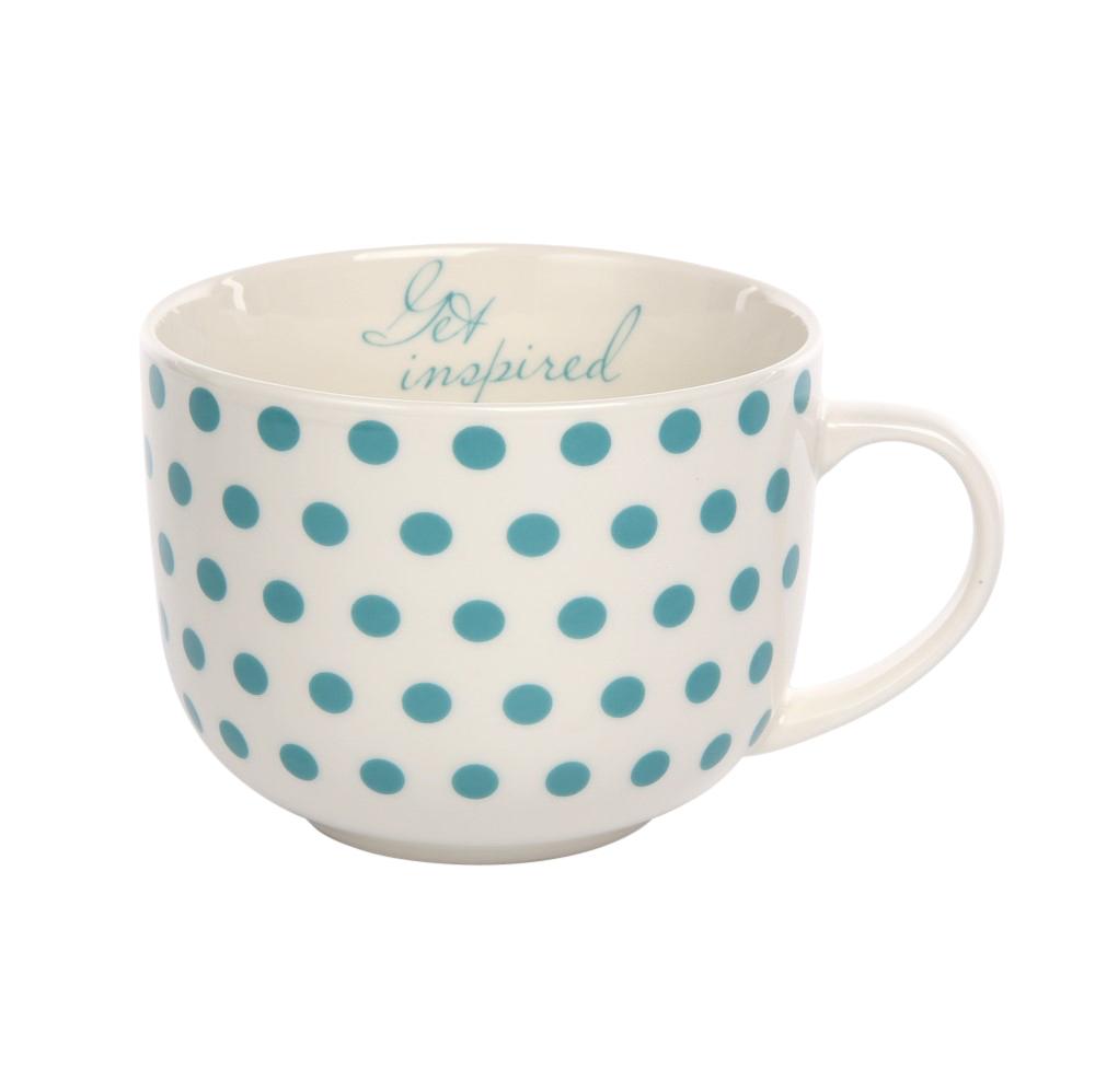 Duża filiżanka do kawy i herbaty porcelanowa Jumbo Altom Design Melania turkus 470 ml
