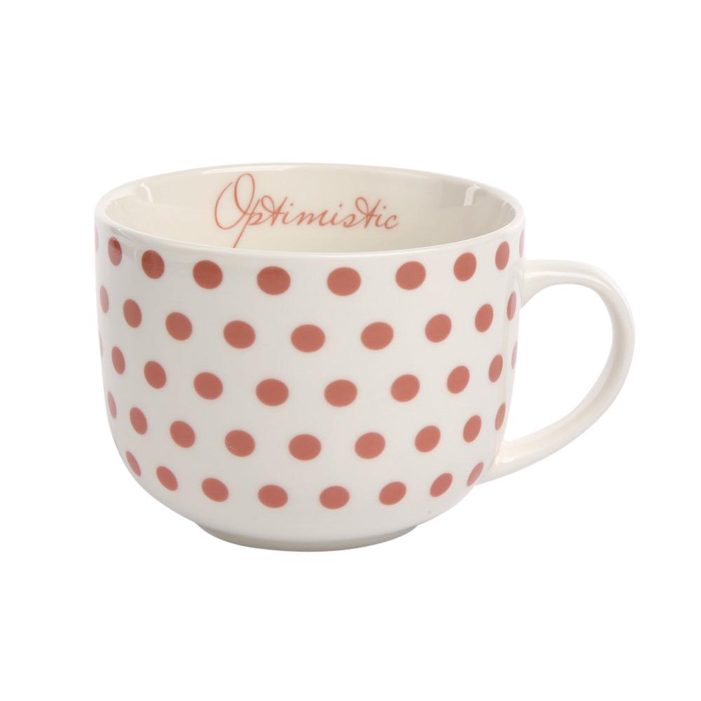 Duża filiżanka do kawy i herbaty porcelanowa Jumbo Altom Design Melania koral 470 ml